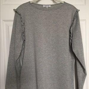 a dip of DARLING Grey LS Ruffle Shoulder Shirt XL